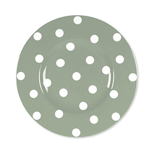 Bruno Evrard Assiette Dessert à Pois Vert Sauge en Porcelaine 22cm - Lot de 6 - Freshness Dots