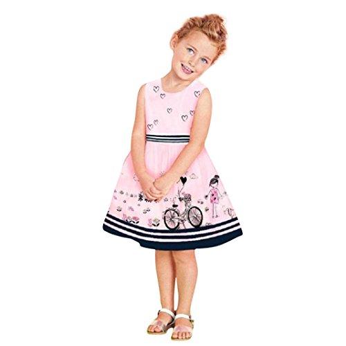 ❤️Elecenty Mädchen Prinzessin Kleid,Kinder Maxikleid Baby Abendkleid Kleider Sommerkleid Drucken Ärmellos-Kleid Minikleid Maxikleid Rundhals Ballkleid Kinderkleidung Partykleid (2T, Rosa)
