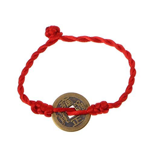 421f7774cb SimpleLife Red String Bracciali con Monete di Rame Lucky Ciondolo di Feng  Shui Cinese Bangle ricchezza