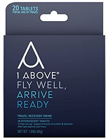 1Above Anti Jet Lag Flight Drink Tablets for Prevention and Relief from Travel Fatigue - Used by Pilots, Business Travelers - Pycnogenol Helps Energy, Circulation and Hydration When Flying - 20