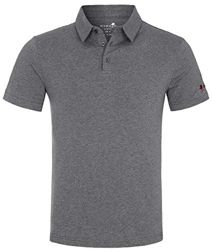 MAROJO Herren Polo Shirt Kurzarm Slim Fit Einfarbig Baumwolle Sommer Poloshirt (Dunkelgrau, M) - Herren Pique Polo Solid