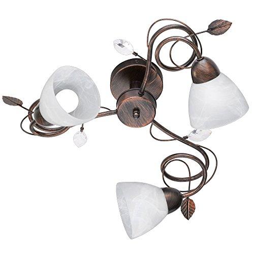 Landhaus Stil Decken Lampe Wohn Zimmer Strahler Alabaster Glas Leuchte rostfärbig Trio 600700328 - Alabaster Glas Leuchte