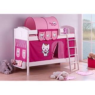 Lilokids Etagenbett IDA 4106 Angel Cat Sugar, Teilbares Systembett mit Vorhang und Lattenroste Kinderbett, Holz, weiß, 208 x 98 x 150 cm