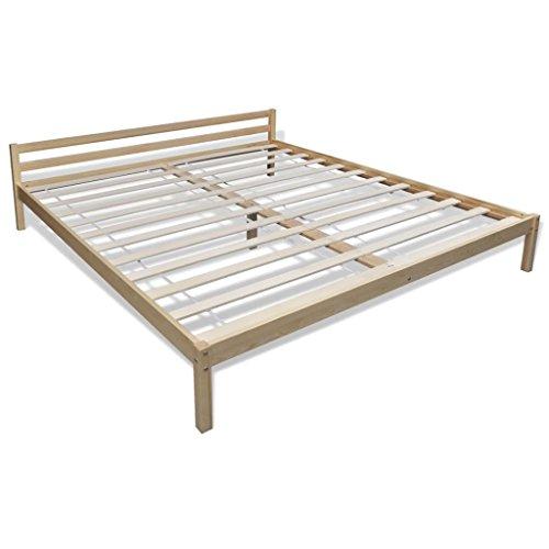 Vidaxl letto matrimoniale naturale camera da letto in legno di pino 200 x 160 cm