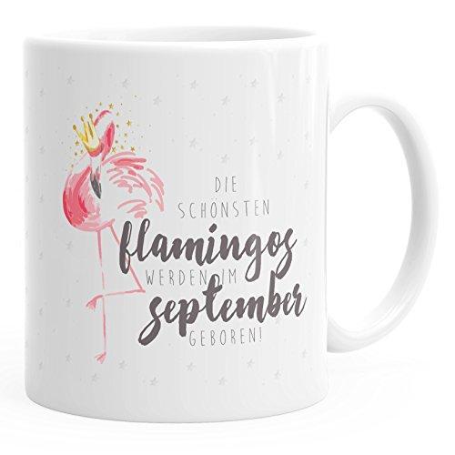 MoonWorks Geschenk-Tasse Flamingo Krone die schönsten Flamingos Werden im September geboren Geburtstags-Tasse Einfarbig weiß Unisize