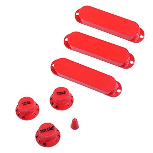 perfk 1 Set Gitarre Single Coil Pickup Geschlossene Abdeckungen mit Volume Tone Knobs + Switch Tip - rot -
