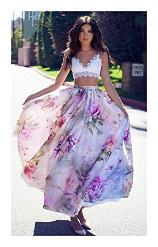 MOOPYS& New Women Chiffon Floral High Waist Maxi Dress Skater Flared Pleated Long Skirt Purple XL Pleated Faux Wrap