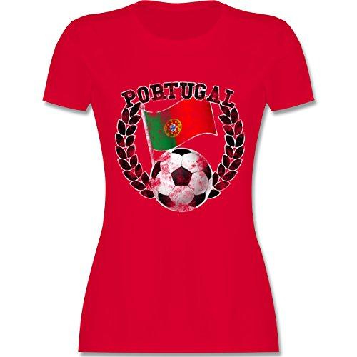 EM 2016 - Frankreich - Portugal Flagge & Fußball Vintage - tailliertes Premium T-Shirt mit Rundhalsausschnitt für Damen Rot