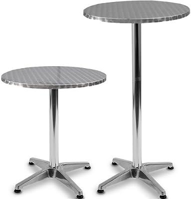 Miadomodo–Mesa de bar redonda plateado altura ajustable Muebles de restaurante bar cafe