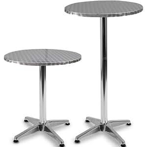 Miadomodo® BST02 Bistrotisch Aluminium höhenverstellbar 70 cm oder 110 cm Ø 60 cm