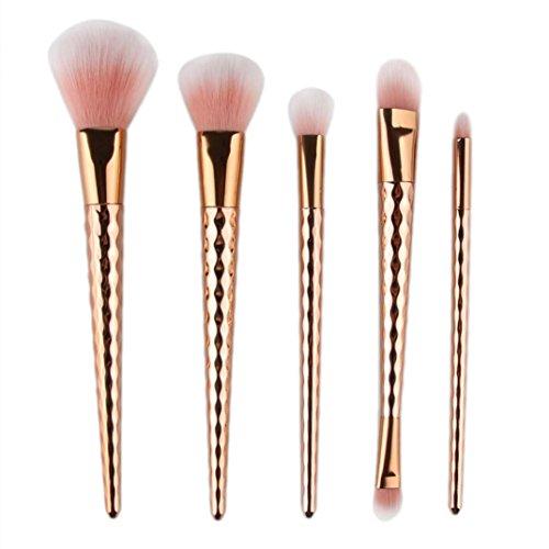 Angelof 5pcs Brosse Cosmétiques Maquillage Pinceaux Sets/Outils - Brosse de Maquillage (Gold)