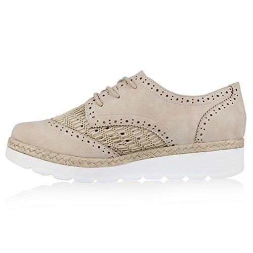 Damen Halbschuhe Lack Glitzer Brogues Dandy Schuhe Profilsohle Creme Netz