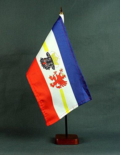 Tischflagge Mecklenburg Vorpommern 15x25 cm mit Tischflaggenständer 37 cm aus Holz, sehr standfest