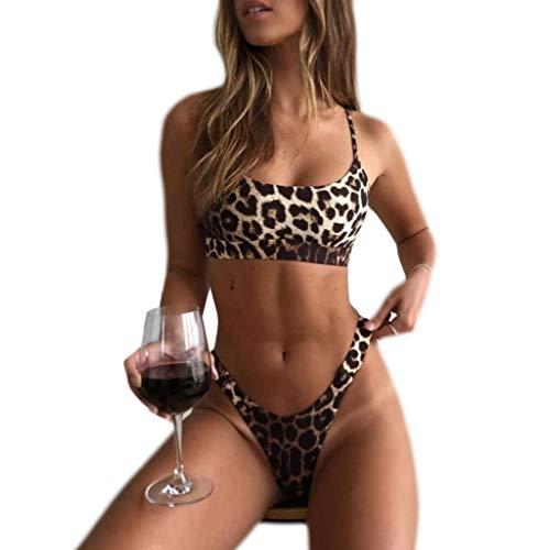 Lyguy Bikini Set, Damen Zweiteiler Bikini Set Tiefer U-Ausschnitt Verstellbare Spaghettiträger BH Crop Top Badeanzug Vintage Leopard Printed Low Waist Thong Badeanzug A M