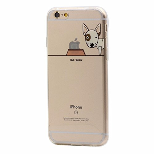 iPhone 6 Plus / 6S Plus Hülle, Keyihan Niedlich Haustier Hunde und Seine Näpfe Muster Dünn Durchsichtige Weiche Silikon TPU Handy Schutzhülle Case für iPhone 6 Plus / iPhone 6S Plus (Bull Terrier) (Bull Terrier Phone Case)