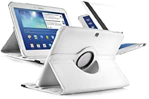 Galaxy Tab 3 10.1 Case - Leather 360 Degree Rotating Smart Cover for Samsung Galaxy Tab 3 10.1, White