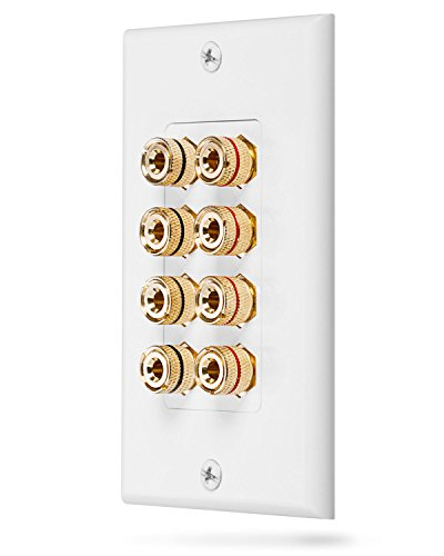 Fosmon [Quad Lautsprecher] Home Theater Wandplatte - Premium Quality Gold Plated Kupfer-Banane Binding Post Coupler Type Wall Plate für 4 Speakers (Weiß) Gold Plated Binding Posts