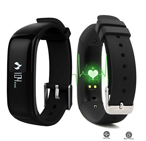 Fitness Armband Wasserdichte IP67, Fitness Tracker Intelligent Bluetooth Touchscreen OLED Sportuhr Activity Tracker mit Herzfrequenz Monitor / Sleep und Kalorienüberwachung Smartwatch Pedometer für IOS und Android Smartphone (Schwarz)