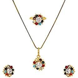 Geode Delight Multicolour Gold Plated Navratan Pendant Necklace Set with Earring, Ring and Chain for Women