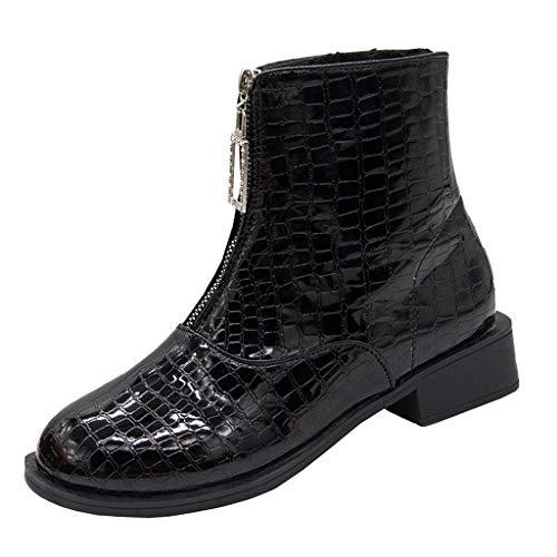 Supertong Damen Stiefeletten Chelsea Boots mit Blockabsatz Winter Fleece Warm Flache Stiefel Jugend Mädchen Winterstiefel Einfarbig Reißverschluss Kurzer Ankle (Mountain Mann Kostüm Kind)