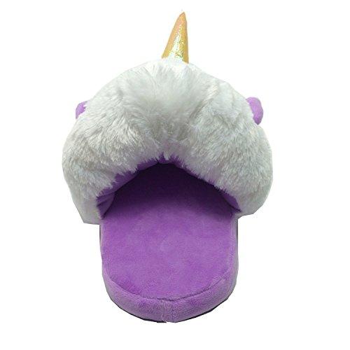 Rainbow Fox Fantasy Einhorn Weiche Plüschhausschuhe Schlupfhalsband Erwachsene Europäische Größen 36–41 violett violett