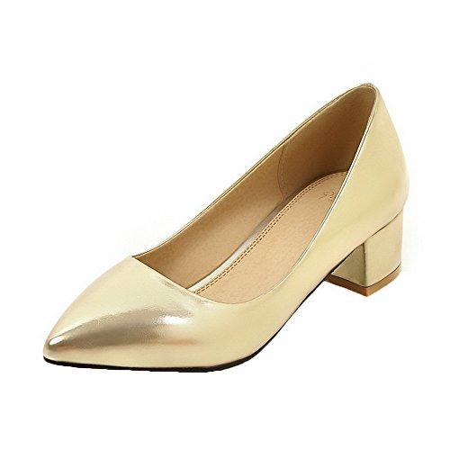 AgooLar Damen PU Schließen Zehe Mittler Absatz Ziehen auf Pumps Schuhe, Golden, 42