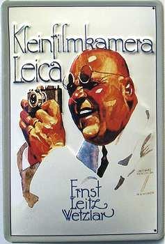 Leica Kleinbildkamera Blechschild, 20 x 30 cm
