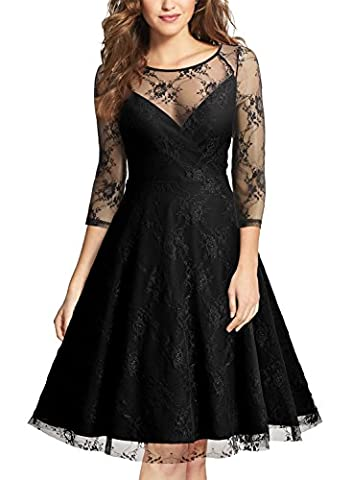 MIUSOL Women's Vintage See-through Mesh Lace 3/4 Sleeve sual Dresses