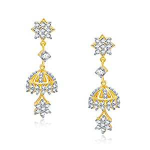 VK Jewels Delight Gold And Rhodium Plated Alloy Jhumki Earrings for Women & Girls made with Cubic Zirconia -ER1135G [VKER1135G] Earrings at amazon