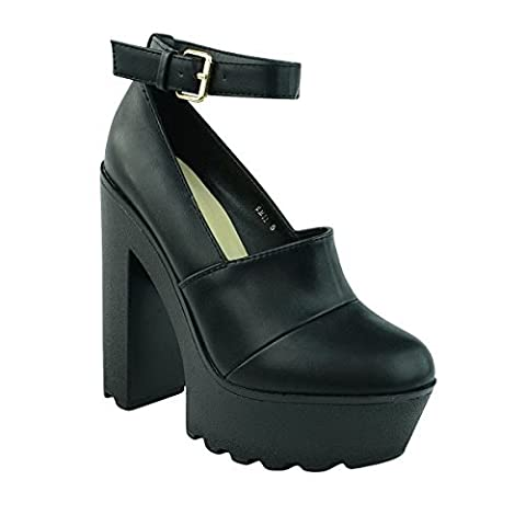 LADIES WOMENS CHUNKY ANKLE STRAP CLEATED SOLE HIGH HEEL PLATFORM WEDGE SHOE SIZE