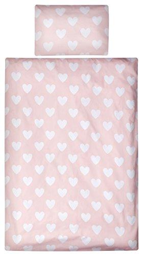 Aminata Kids Bettwäsche 100x135 cm Baumwolle + Reißverschluss Herzen Herzchen Rosa Weiß Mädchen Kinderbettwäsche Bettbezug Bezug 2-teiliges Bettwäscheset Ganzjahr Kinderbettgröße