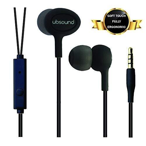 UBSOUND Smarter PRO Nero Cuffie Auricolari In-Ear ergonomiche per Smartphone Iphone Game Pc con Jack standard 3,5mm Microfono Leggere Satinate Cavo Antinodi Garanzia 2 anni IEM