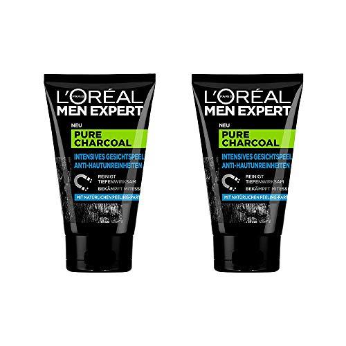 L'Oréal Men Expert Pure Charcoal Kohle, Gesichtspeeling gegen unreine, fettige und ölige Männerhaut und Mitesser Porenreiniger - für klare Haut (2 x 100 ml) -