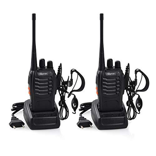 funkgeraete mit headset Upgrow 2X Baofeng BF-888s Funkgeräte Set Walkie-Talkie Funksprechgeräte 16 Kanäle 5KM Reichweite CTCSS/DCS 400-470MHz Radio Handfunkgerät Mit Wiederaufladbar Akkus und Headset (mit Headset)
