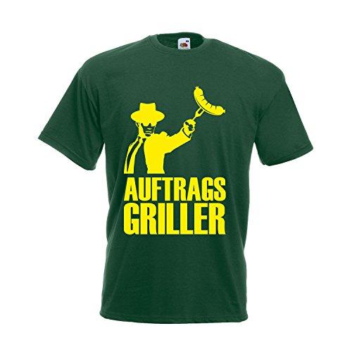 Grill T-Shirt Unisex Auftragsgriller - Coole lustige Fun Sprüche Motive für den nächsten Grillabend Bottle Green (Druck gelb) XXXL (3XL)