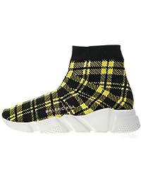 Balenciaga Speed Stretch-Knit Grid Gitter Yellow Zapatillas de Running para Mujer