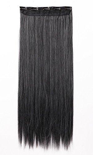 Haar Verlängerung Perücke (66cm Lange Gerade Clip in Hair Extensions Haar Verlängerung One Piece Half Full Head Dark schwarz mix Silber Grau Luxus)