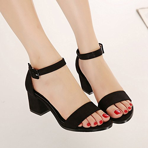 Damen Sandalen mit High Heels Blockabsatz Anti-Rutsch Fashion Bequeme Elegante Schnalle Sandalen Pumps Schwarz