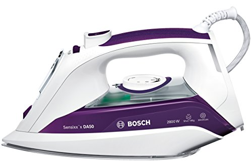 Bosch TDA5028020 Sensixx\'x DA50 Dampfbügeleisen, 2800 W, 190g Dampfstoß, 3fach-Reinigungsfunktion, weiss/dunkelviolett