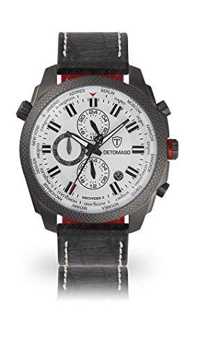 DETOMASO Discoverer II Herren-Armbanduhr Chronograph Analog Quarz graues Edelstahlgehäuse weißes Zifferblatt - Jetzt mit 5 Jahren Herstellergarantie (Leder - Schwarz (Naht: Weiß))