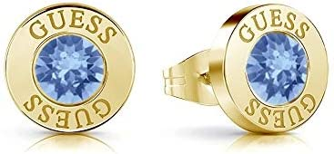 Pendientes Guess Shiny Crystals azul acero inoxidable quirúrgico chapados oro UBE78098 [AC1151]