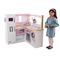 KidKraft 53185 Grand Gourmet Corner Wooden Pretend Play Toy Kitchen for Kids with role play accessories included - Pink & White
