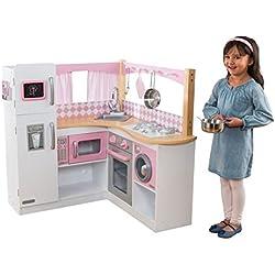 KidKraft 53185 Cocina de esquina de juguete Grand Gourmet de madera para niños con accesorios de juego incluidos - Rosa y blanco