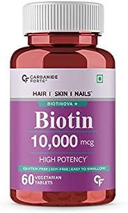 Carbamide Forte High Potency Biotin 10000mcg Maximum Strength for Hair Growth – 60 Veg Tablets