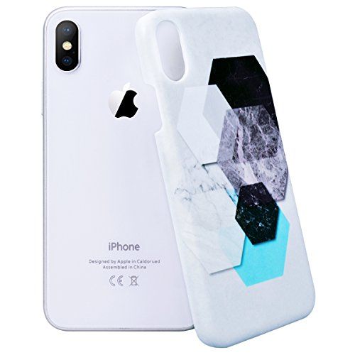 WE LOVE CASE Coque iPhone 8 Plus, Coque de Protection en Hard PC Dur Coque iPhone 8 Plus Marbre Motif Anti Choc Bumper, Antichoc Rigide Resistante Coque Apple iPhone 8 Plus Rose Bleu