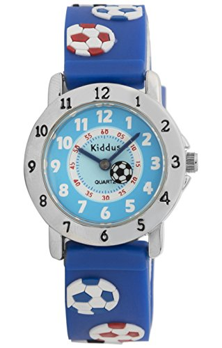 Kinder Armbanduhr für Junge und Mädchen, wasserfest (3 ATM), hohe Qualität Quarz Mechanismus, in Geschenk-Box, Kiddus (08 Fußball)