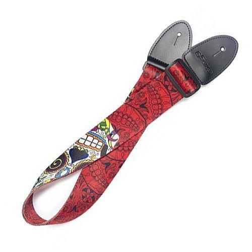 Stagg 2247082-141cm regolabile'Big teschio messicano modello terylene Guitar strap-rosso