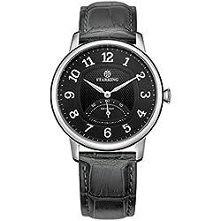 STARKING Men's BM0980SL62 Retro Small Seconds-Hand Subdial Quartz Watch with Grey Leather Strap