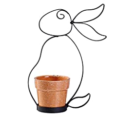Idea Regalo - Valery Madelyn 22,5 cm Metallo nero con struttura a forma di coniglio e vaso in ceramica da giardino/decorazione interna, vaso non inclusato in vaso Giardino/Decorazione interna, Impianto non incluso