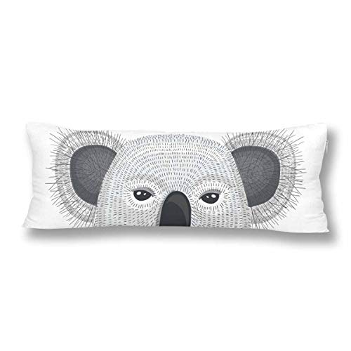 CiCiDi Seitenschläferkissen 5ft (140 x 40 cm) Benutzerdefinierte Cute Hipster Koala weiche Baumwolle Maschinenwäsche mit Reißverschlüssen Mutterschafts- / Lange Kissenbezug